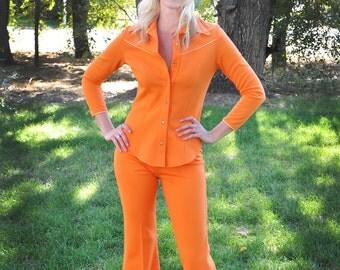 Totally Fab Orange Hippie Bell-Bottom Suit