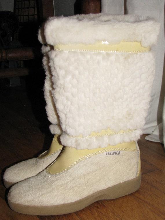 Vintage Fur Tecnica Apres Ski After Ski Snow Boots Made In