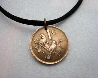 Sparrow Necklace - SPARROW coin pendant - two birds on a branch - South Africa necklace - bird necklace - sparrow necklace - sparrow jewelry