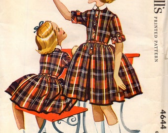 Vintage McCall's Sewing Pattern 4644 | Girls' Dress | Size 6 | 1958 | Helen Lee Design