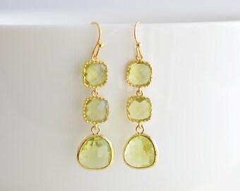 30% OFF, Peridot earrings, Gold earrings, Glass earrings, Wedding jewelry, Bridal earrings, Cocktail jewelry,Clip earrings,Anniversary gift