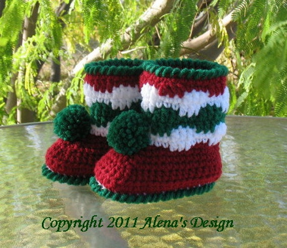 Crochet Pattern 027 - Christmas Baby Pom-Pom Booties Baby Boy Baby Girl Child Winter Boots Slippers Christmas Decoration Red Boots Pom-Pom