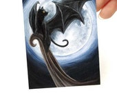 Goth Decor, Black Cat Art, ACEO Print, Full Moon Picture, Bat Wings, Fantasy Artwork, Animal Illustration, Halloween Decoration