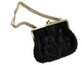 "Vintage Black Beaded Handbag with Chain Handle LeRegale  5 1/2"" x 6 1/2"""