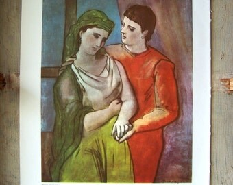 The Lovers Vintage Art Print 1950s Bookplate Picasso Painting Reproduction