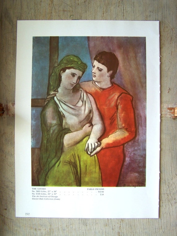 The Lovers Vintage Art Print 1950s Bookplate Picasso Painting