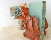 Vintage Ship Book ends by Syroco Made in USA