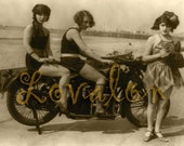 Smokin' 1930's Motorcycle Girls... Deluxe Print... 1920's Vintage Fashion Photo... Available in Various Sizes