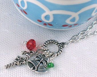 Silver Christmas Charm Necklace - Christmas Bells and Candy Cane - Red Green - Holiday - Gifts Under 25
