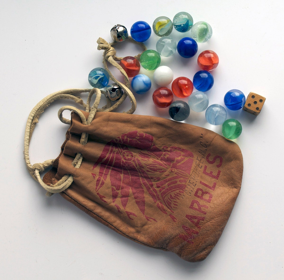 Marbles In Pouch Vintage 1950s Indian Chief Leather Pouch