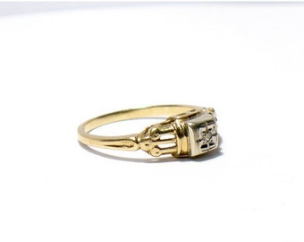 Victorian Art Deco // 14K GØLD Diamond Ring - dainty