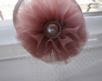 Pink Tulle Pearl Flower Sinamay Fascinator Hat with Veil and Pearl Headband, for weddings, bridesmaid, parties, special occasions