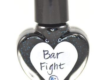 Bar Fight Black and Blue Nail Polish 5ml Mini Bottle