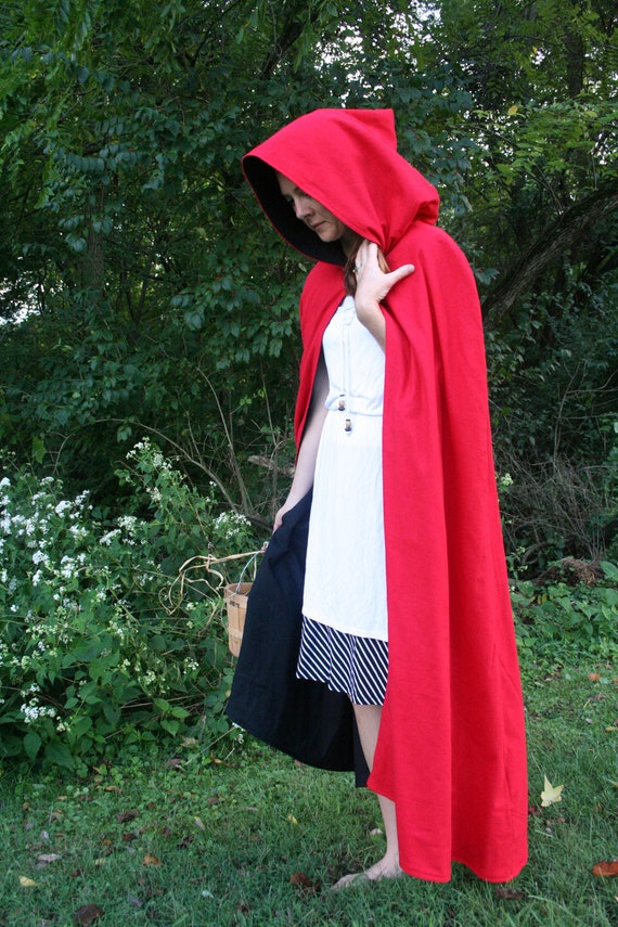 Red/Black Reversible Hooded Cloak