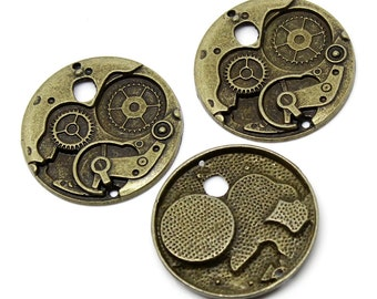 Bronze Clock Gears Charms Steampunk - 38mm - 2pcs  - Ships IMMEDIATELY  from California - BC579