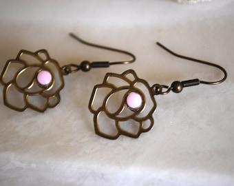 Vintage Rose Earrings -- Pink Crystal, Dark Bronze