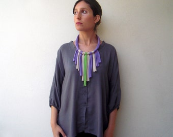 Fringe necklace, boho necklace, statement necklace - Retazos necklace - handmade in jersey fabric