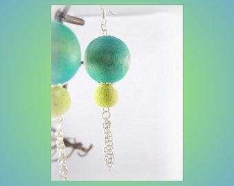 Beach Colors Earrings - Wood Bead, Coral Bead, Chains, Tassle, Sterling Silver Hooks - Unique Jewelry for a Unique You