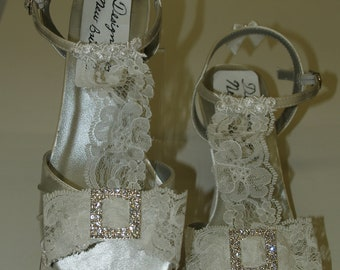 Size 5.5 Ready to Ship White Wedding Shoes 1 3/4'' heel lace & rhinestones,Lace T Strap Open Toe Satin Short Heels,Ankle Strap,Old Hollywood