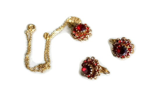 ON HOLD CLEARANCE Sarah Coventry Ruby Red Rhinestone Earrings and Necklace