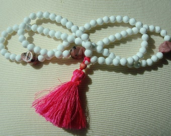 Handmade unisex beautiful summer white crystal bead  Mala  necklace with pink semi-precious stones skulls