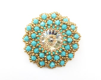 Brooch, Turquoise Swarovski Crystal, Beaded Brooch, Statement Brooch