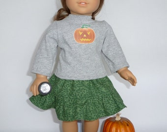 "Halloween jack-o-lantern  t-shirt and skirt for your 18"" American Girl dolls"