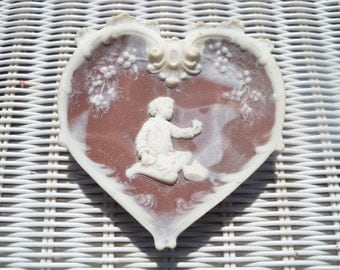 Incolay Chocolate Brown Marbelized Cameo Heart