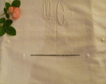 French Art Deco Metis Sheet Antique Double Bed Sheet Monogram MC Circa 1930