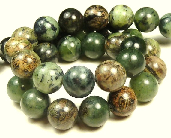 Williamsite Natural Gemstone Beads - 16 Inch Strand - 7.5mm to 8mm - Green, Brown, Black, Mottled, Round - BC17