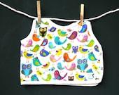 Bright Bird Bib Owl Rainbow Colors Boutique Baby and Toddler Bird theme
