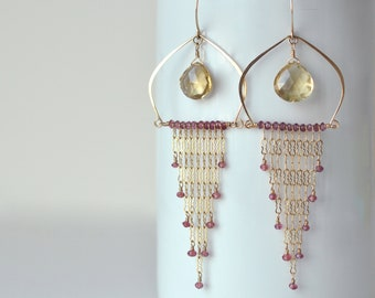 Garnet Earrings- Extra Long Earrings- Exotic Earrings- Gold filled Chain Earrings- Chandelier Earring - Garnet + Quartz- Moonstone + Spinel