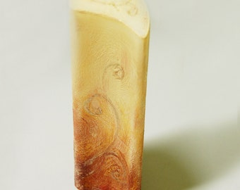 Rustic Handpainted Pillar Candle -  Holiday Candle in Warm Colors - Rustic Home Decoration - Gift Idea - Abstract Decor Candle