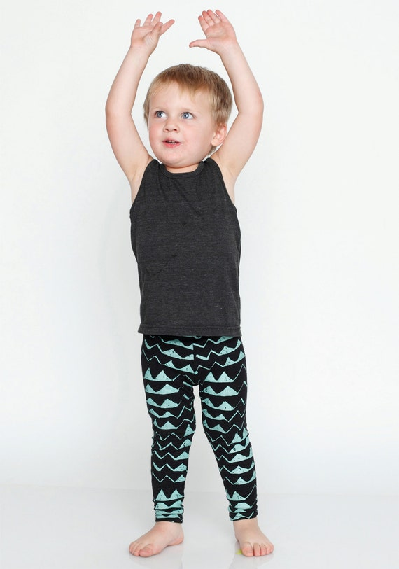 Hand Printed Mountain Leggings in Mint on Black