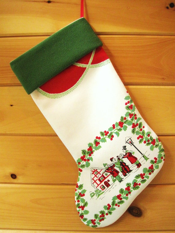 Christmas Stocking / Vintage Stocking / Large Stocking / Christmas Tablecloth Stocking / Cottage Chic Stocking / Christmas Carolers
