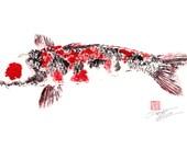 Japanese KOI giclee gyotaku print - traditional Japanese fish art - LAST FEW****