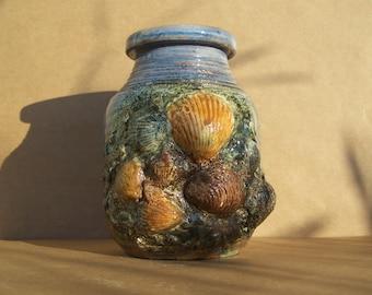 MARKED Down -Deep Beneath the Sea Vases Series - Sea shells Beach Decor - Original Creation