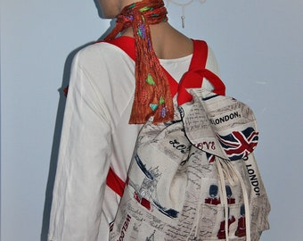 Britisih Postcard Prints Large Backpack / British Flag/London Backpack  /School/Travel Bag Rucksack