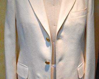 Nautical Themed J.G. Hook Creme 100% Wool Vintage Boyfriend Fall Blazer(size M)