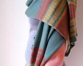 Fair Isle Italian Merino Scarf - Khaki Green  Fine Knitted Scarf