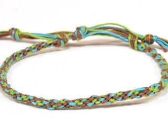 Hemp Bracelet Kumihimo Braided Eco Friendly Hemp Brown, Green & Blue Men's Jewelry