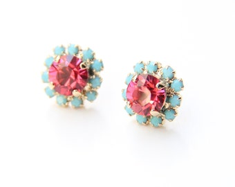 ON SALE! Pink and turquoise Crystal Stud earrings - rhinestones posts - 24k gold plated