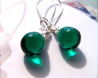 Dark Green Earrings, Green Drop Earrings, Green Dangle Earrings, Teardrop Earrings, Dark Green Jewelry, Gifts under 10, UK shop, Popular