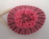 Crochet Stone, Pink Flower Freeform Crocheted Using Cotton Tatting Thread, One of a Kind, Beach Wedding Decor, Tiny Stitches, Unique Gift