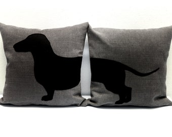 Personalized Sausage dog pillow covers, grey and black, dog pillow, decorative pillow, sofa pillow, dog cushion