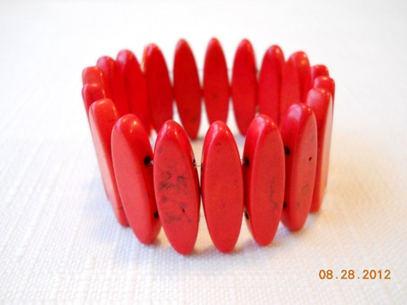 Red Turquoise Stretch Cuff Bracelet