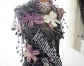 Colorful Flower Shawl -Purple and Pink Floral - Gift for Her - Scarf-Shawl-Winter Accessories