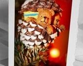 Christmas Card, Teddy Bears in an Acorn - Photo Greeting Card - Mounted 4x6 signed photograph - Blank Holiday Xmas Card