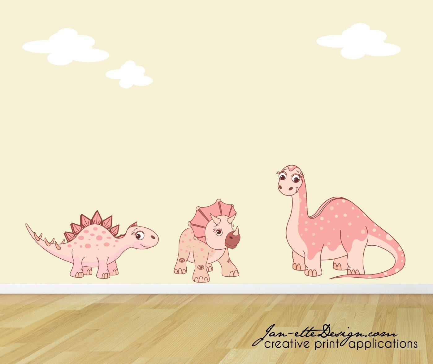 Girl wall decalspink dinosaur wall stickersdinosaur fabric for Girly dinosaur fabric