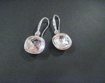 Clear Swarovski Crystal Earrings/ Bridesmaid Jewelry/ Wedding Jewelry/ Crystal Drop Earrings/Bridesmaid Earrings/ Rhinestone Earrings